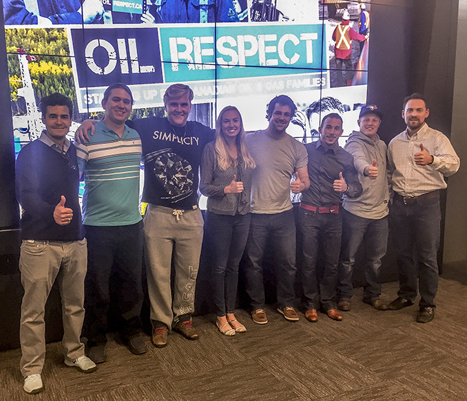 On October 14, 2016 Oil Respect visited the Student Petroleum Society at SAIT for the second time. L-R: John Bayko (CAODC), Jese Krueger, Jessie Dalton, Jillian Martinson, Miles O'Keefe, Tyler Kobayashi, Sam Trottier, Mark Scholz (CAODC).